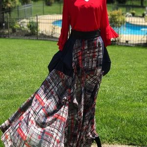 TOV mixed media plaid skirt